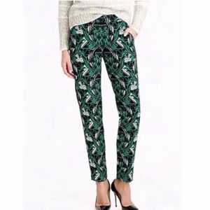 J. Crew floral trousers green & white w pockets 10